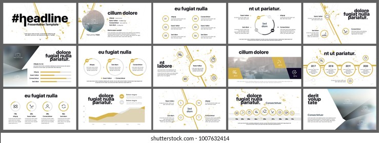 Yellow Presentation templates in Grunge style. Vector infographics elements on a white background. Business  flyer and leaflet Corporate report Marketing Advertising