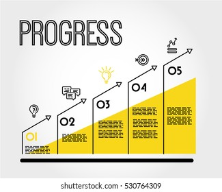 yellow progress infographic graph with title, progress concept