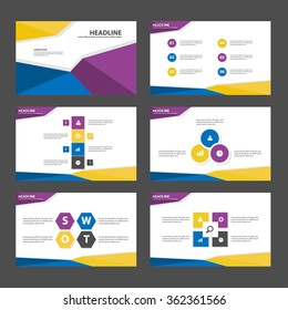 Yellow purple blue presentation templates Infographic elements flat design set for brochure flyer leaflet marketing advertising