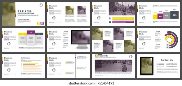 Yellow and purple business presentation slides templates from infographic elements. Can be used for presentation, flyer and leaflet, brochure, marketing, advertising, annual report, banner, booklet.