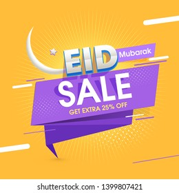 Yellow and purple color of website header or banner design for Eid Sale, Up To 25% Off in pop art style.