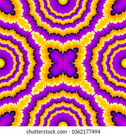 Yellow and purple  flowers blossom. Optical expansion illusion. Seamless pattern.