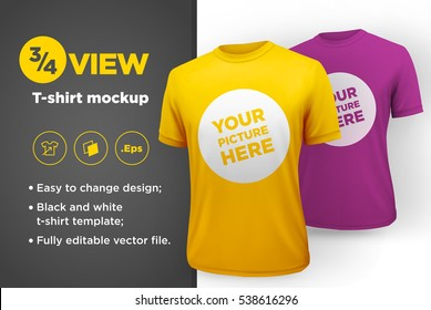 Yellow and purple men's t-shirt realistic mockup. Vector illustration