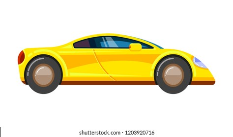 Yellow race car. Racing rally vehicle speed engine formula 1 driver sport automobile vector cartoon illustration isolated.