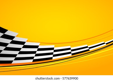 Yellow racing background, sport banner. Checker flag. eps10