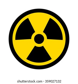 Yellow radioactive / radiation symbol flat yellow vector icon for websites and print