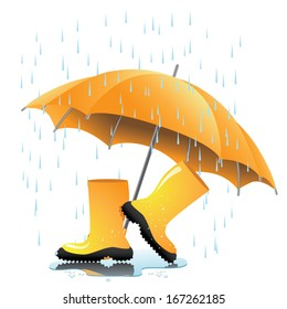 Yellow rain boots and umbrella in puddle. EPS 10 vector. grouped for easy editing. No open shapes or paths.