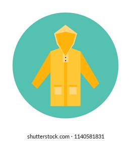 Yellow Raincoat flat icon isolated on blue background. Simple Raincoat sign symbol in flat style. Autumn element Vector illustration for web and mobile design.