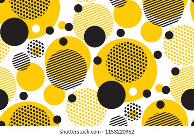 Yellow random round geometry seamless pattern. Vector illustration surface design for print and web. Memphis post-modernist style motif. Pop art repeatable fabric sample.