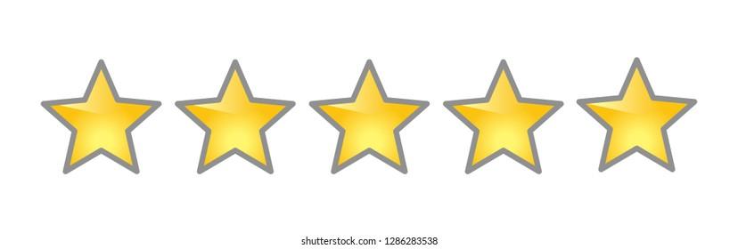 yellow rating stars, five golden stars