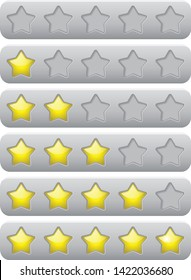 Yellow rating stars on gray banners