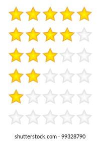 Yellow rating stars vector