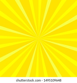 Yellow rays. Iconographic symbol. Attributes of gods and heroes, supernatural strength. Square format.