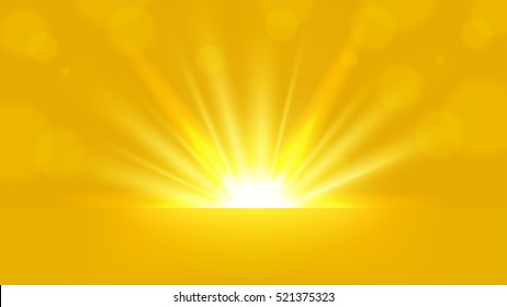 Yellow Rays rising on bright background 16:9 Aspect Ratio Vector Illustration