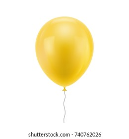 Yellow realistic balloon. Yellow inflatable ball realistic isolated white background. Balloon in the form of a vector illustration