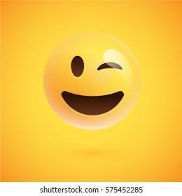 Yellow realistic emoticon smiley face, vector illustration
