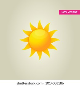 Yellow realistic icon of the sun