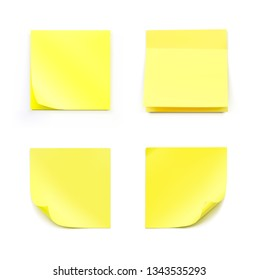 Yellow realistic stick note papers. Vector illustration isolated on white background. Ready for your design. EPS10.