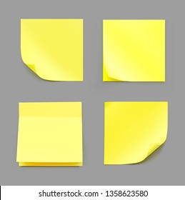 Yellow realistic stick note papers. Vector illustration. Ready for your design. EPS10.