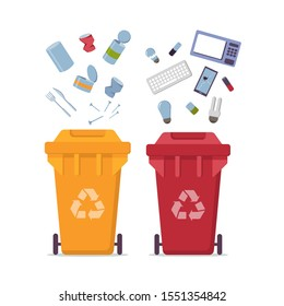 Yellow recycle garbage bin for metal and red for e-waste set. For banner, flyer. Separation of waste can for recycling, reuse, reduce. Throw away the glass and metal in correct trash can. Less waste