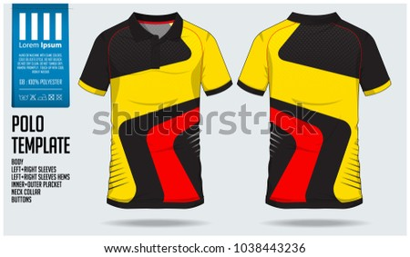 0a4989e41 Yellow Red and black Polo t shirt sport design template for soccer jersey