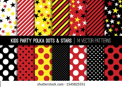 Yellow, Red, Black and White Polka Dots, Stars and Stripes Vector Seamless Patterns. Kids Party Backgrounds. Children Birthday Invitation Backdrops. Repeating Pattern Tile Swatches Included.