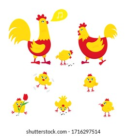 Yellow and red chicken with broken egg, nest, set of chicks and a rooster cock flat style design vector illustration. Chicken farming poultry symbol signs. Domestic bird isolated on white background.