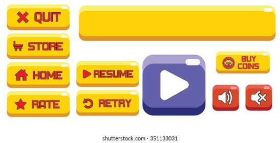 Yellow and Red Game Buttons