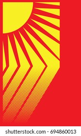 Yellow and red halftone vector illustration of sun rays hitting the ground.  11x17 aspect ratio.