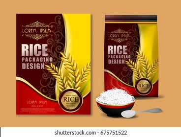 yellow and red Rice Package Thailand food Logo Products and Fabric Background Thai Arts, banner and poster template design rice food.Golden template and rice design