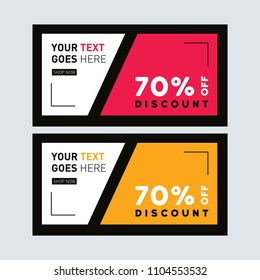 Yellow and red Sale banner design. Facebook ad Banner. Discount card. Summer sale. Clearance poster. Banner set. Voucher template. Coupon template