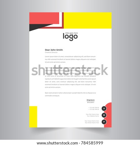 yellow red simple letter head template design