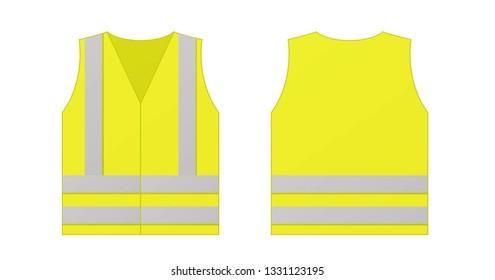 Yellow reflective safety vest for people isolated on white background.