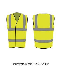 Gelbe reflektierende Sicherheitsweste für Menschen einzeln auf Vektorillustration und Rückseite zur Förderung auf weißem Hintergrund