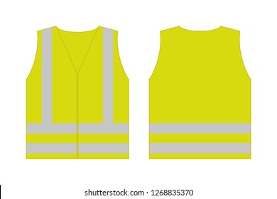 Yellow reflective safety vest for people,front and back view uniform template,isolated on white background,flat vector illustration