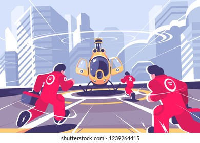 Yellow rescue helicopter and team flat poster. Copter on roof of building and men in red uniforn running to it vector illustration. Air emergency concept. Cityscape on background