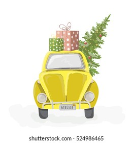 Yellow retro car with christmas tree and gift boxes on the roof. Christmas picture. Cute Christmas and New Year vector illustration.