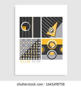 Yellow retro catalog design. Vector illustration.