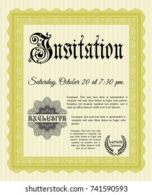 Yellow Retro invitation. With complex linear background. Customizable, Easy to edit and change colors. Cordial design.