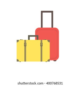 Yellow retro suitcase with buckles and straps and a modern red suitcase on wheels for traveling and business trips. Vector.