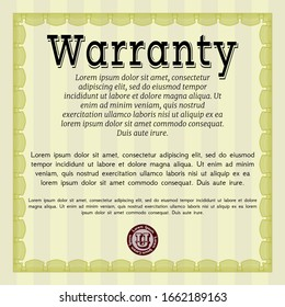 Yellow Retro vintage Warranty Certificate. Elegant design. Detailed. With quality background.