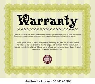 Yellow Retro vintage Warranty Certificate. With guilloche pattern. Vector illustration. Superior design.