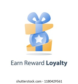Yellow reward gift, open present box, loyalty program, earn points, collect bonus, redeem special prize, wonder box, vector icon, flat illustration