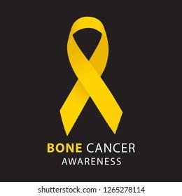 Yellow ribbon. Bone Cancer Awareness. Healthcare and medicine concept. Vector illustration.