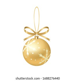 Yellow ribbon bow with golden snowflake pattern Christmas decoration ball, holiday pendant, hand drawn 3D vector illustration, birthday decorations.