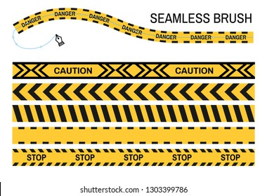 Yellow ribbon caution police tapes seamless brush stop vector danger area or crime scene fencing digital drawing tool art web design restriction stay away warning enclosure striped line precaution.