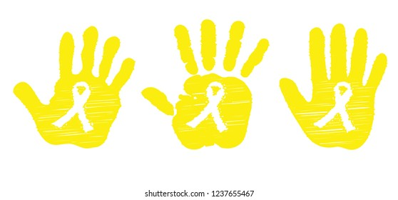 Yellow ribbon (child's) hand Childhood Cancer Day awareness Vector stop icon icons sign signs International world February 15  September Doodle month health child children symbol Suicide endometriosis