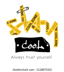 yellow ribbon forming stay cool typography graphic illustration