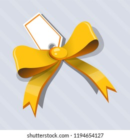 Yellow ribbon with greeting card. Vector illustration.