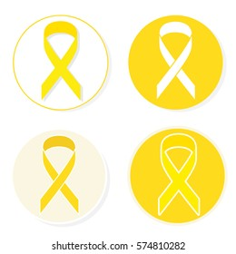 yellow ribbon icons closeup